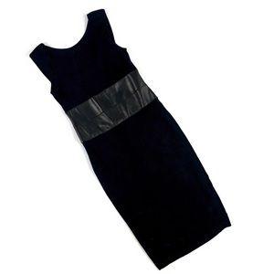 Bailey 44 Stretch Faux Leather Panel Sheath Dress